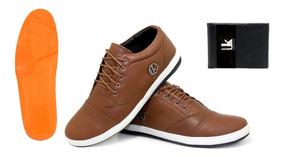 Sapato Sapatenis Casual Masculino Couro Original + Carteira