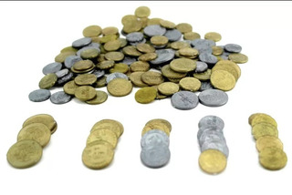 6 Bolsas De Monedas De Plastico Dinero De Juguete Envíograti