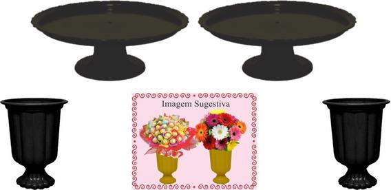 2 Mini Boleiras E 2 Vasos Grego Preto