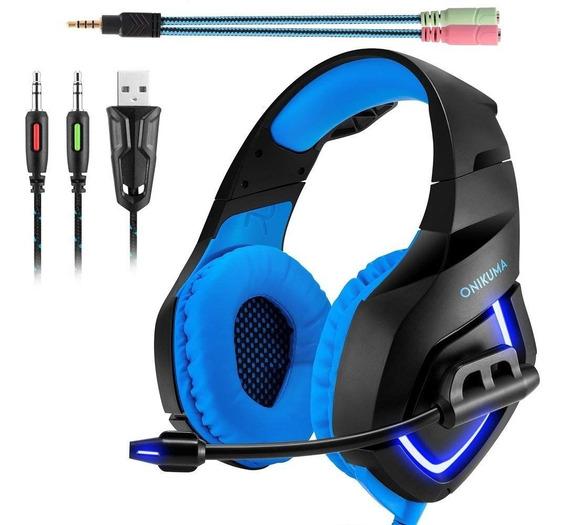 Fone Ouvido Headset Gamer K1b Blue Led Onikuma P2 P3 Ps4