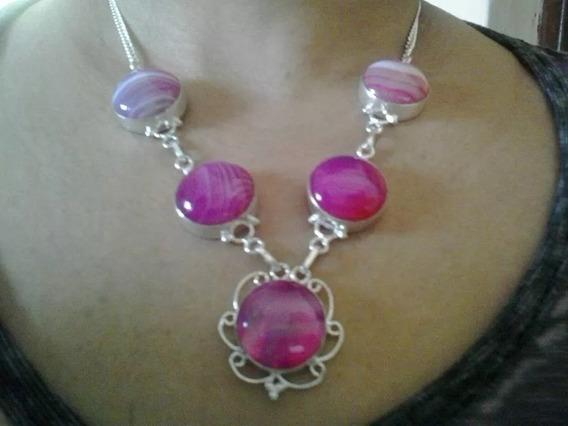 Colar De Prata Indiana Agata Rosa Pedras Naturais