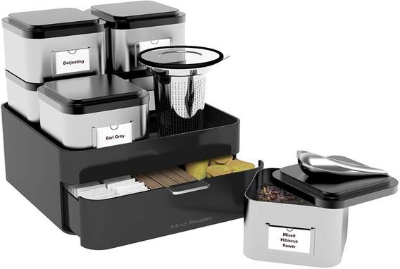 Organizador Para Tea Té 10 Piezas Base Infusor Botes Cuchara