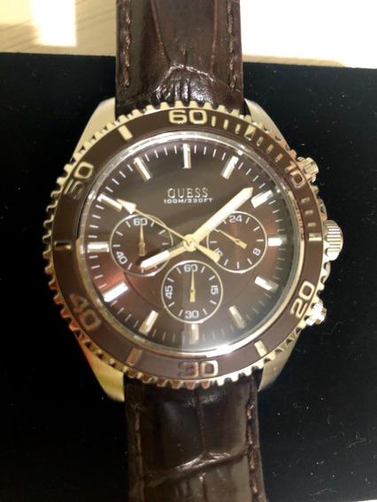 Relógio Guess - Masculino - Pulseira De Couro - Usado
