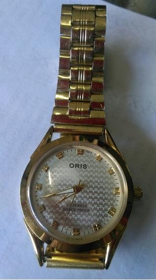 Relógio Oris Suiço Original A Corda Folhado A Ouro.