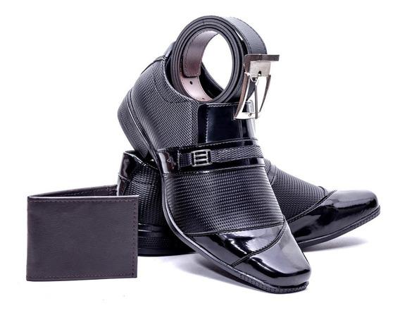 Sapato Masculino Social Verniz + Carteira E Cinto Brinde