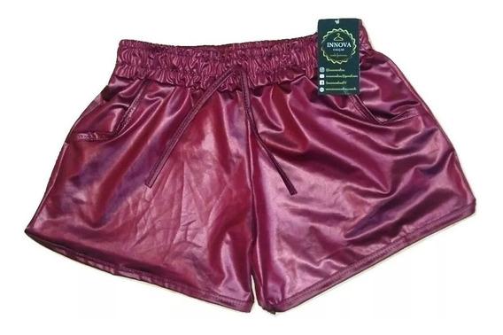 Shorts Boxer Metalizado Cirre Brilho Hot Pants Cintura Alta