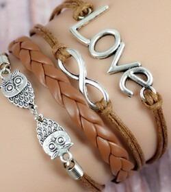 Pulseira Bracelete Vintage Pingentes Love Infinito