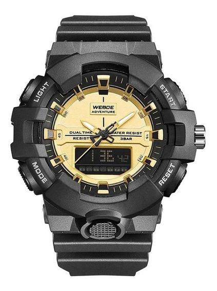 Relógio Masculino Weide Anadigi - Preto E Dourado Original