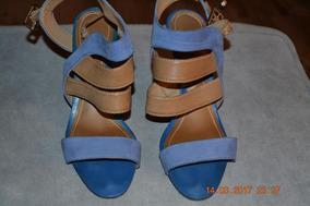 Sandálias Anabela, 2 Cores Azul/bege, Nº 35, Marca Dumond