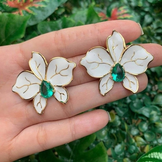 Brinco Flor Pedra Zicornia Esmaltado Semijoia Ouro 18k