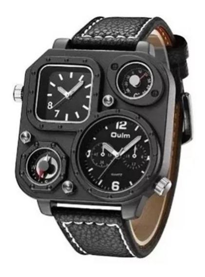 Relógio Quadrado Militar Oulm Black Bússola E Termômetro