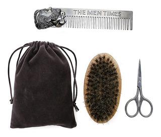 Kit Para Barbas Afeitar Peine Cepillo Tijera