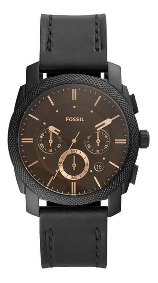 Relógio Masculino Fossil Fs5586/0pn 42mm Couro Preto