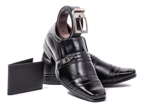 Sapato Masculino Social + Carteira + Cinto Brinde Oferta