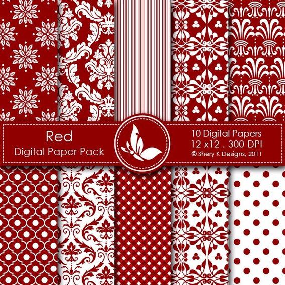 Papel Digital Vermelho Silhouette 013