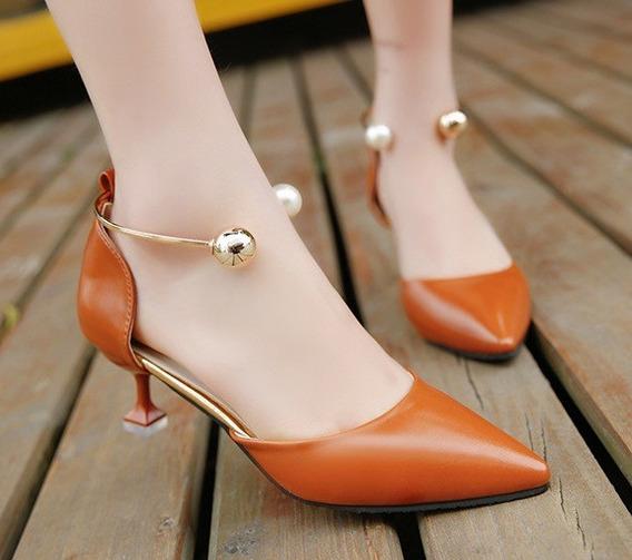 Sapato Scarpin Com Tornozeleira Trabalho Salto Baixo 3 Cores