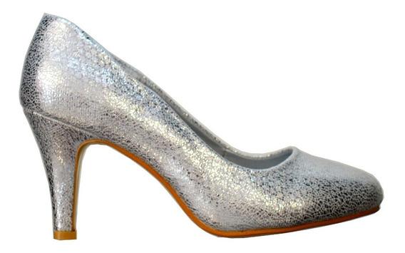 Zapatos Bajo Punta Redonda Plateado Cómodo Envío Gratis