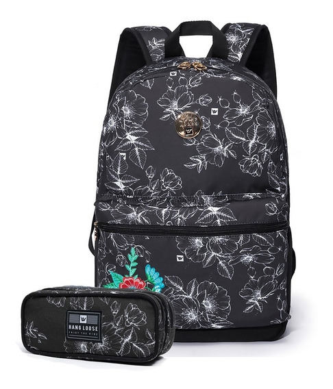 Kit Escolar Mochila Hang Loose Original C/ Estojo Infantil