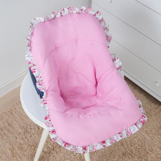Capa Bebê Conforto Menina Rosa Babado Floral Tamanho Único