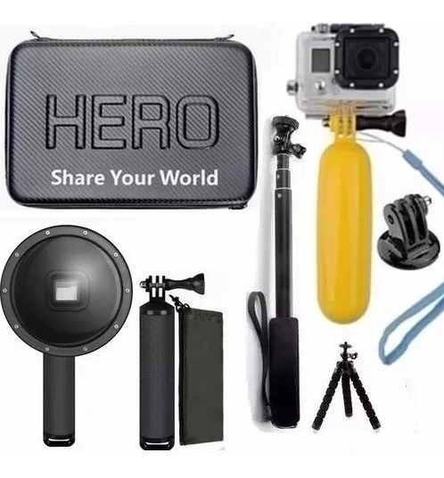 Kit Gopro Hero Black Dome 6 Pol. Tripé Bastão A Prova D Água