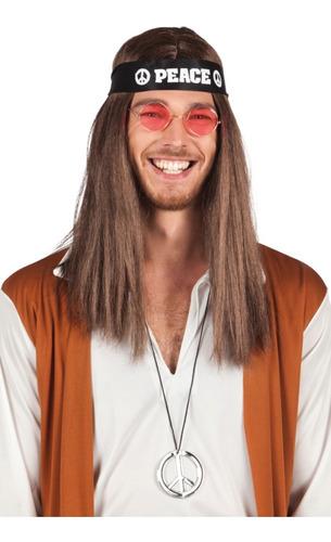 Kit Hippie Símbolo Da Paz Faixa Óculos Colar Fantasia