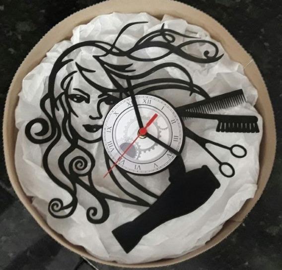 Relógio De Parede Em Disco Vinil Personalizado Cabeleireira