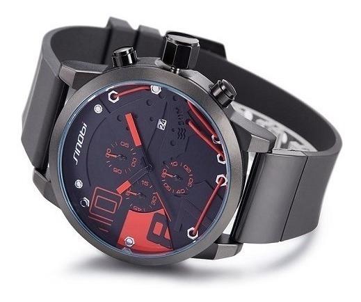 Relógio Sinobi Sport Vermelho Analógico Data Cronômetro 50mm
