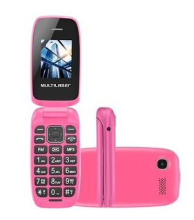 Celular Flip Up Multilaser Rosa Dual Chip Mp3 - P9023