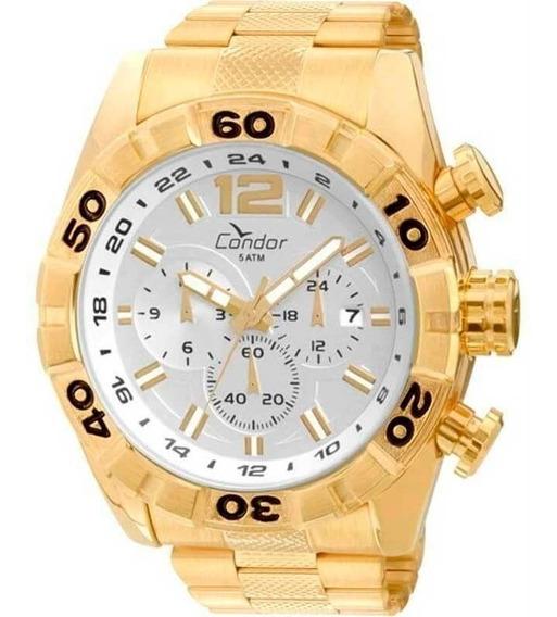 Relógio Cronógrafo Condor Masculino Dourado Covd33aa4k