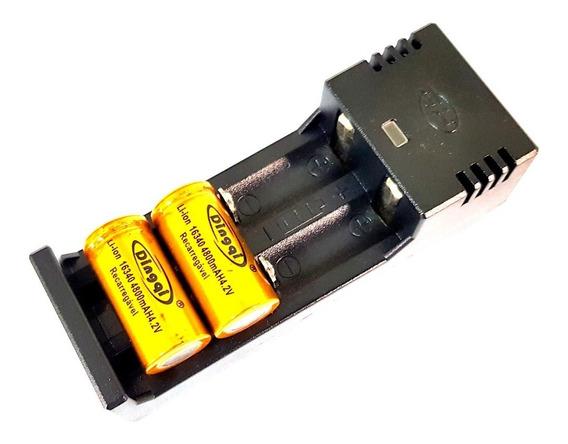 Carregador De Bateria Duplo Regulável + Bateria 16430 4.2v