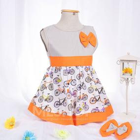 Vestidinho Infantil Laranja Estampado Bebê + Faixa De Cabelo