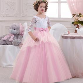 44012b5ab Vestido Fiesta Color Rosa Palo - Vestidos 7 en Mercado Libre México