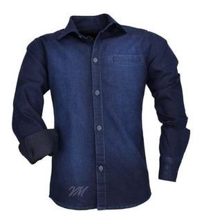 Camisa Infantil Alfa 1502 Jeans M Longa Embutido Bolso Luxo