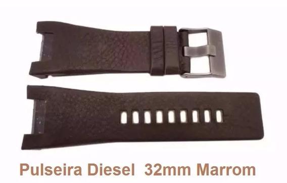 Pulseira Diesel Couro Marrom 32mm Dz1273 Dz4246 Dz1216