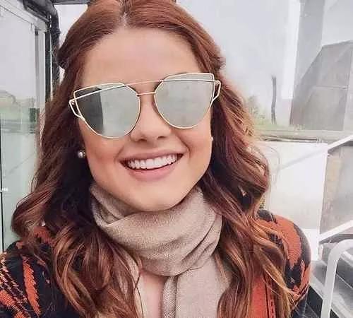 18cbaea58 Óculos De Sol Feminino Olho De Gato Espelhado Twin-vigas - R$ 34,50 ...