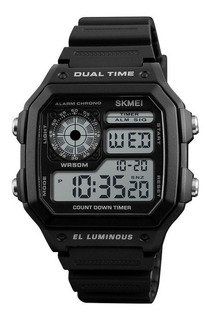 Reloj Hombre Skmei 1299 Crono Timer Alarma Luz Dual Sumergible Garantia