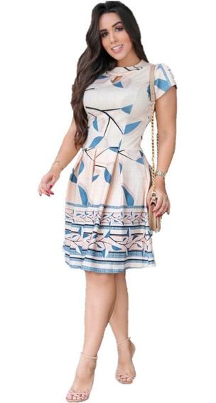 Vestido Rodado Com Pregas Moda Evangélica Modesta Princesa