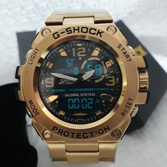 Relógio Masculino Casio G-shock Todo Em Aço Dourado