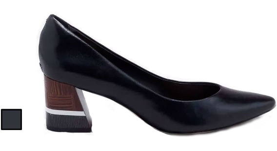Sapato Scarpin Capodarte Salto Grosso De Couro