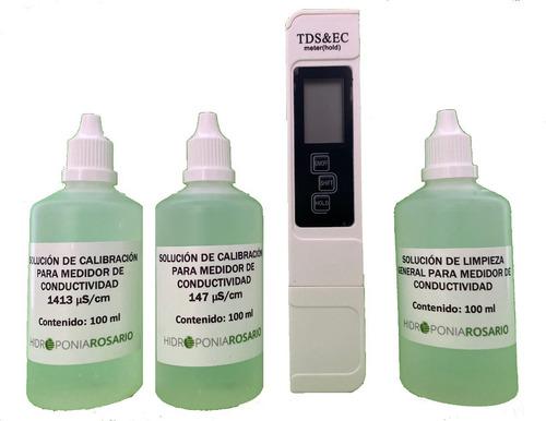 Imagen 1 de 3 de Combo Conductimetro Mas Soluciones De Calibración Y Limpieza