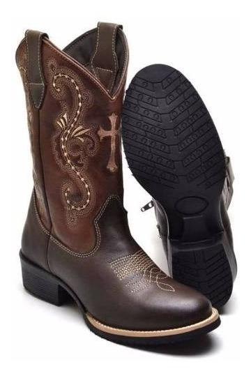 Bota Texana 9899 Feminina Montaria Country Couro Legitimo