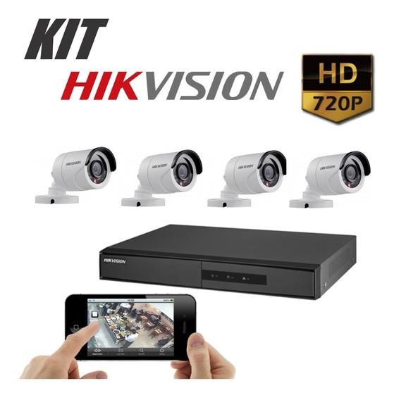 Kit Dvr Hikvision Turbo 4 Canais Mais 4 Cameras 1 Mega