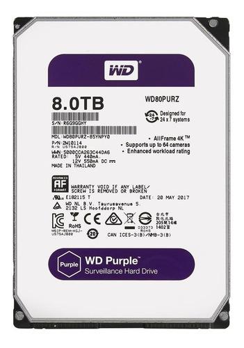 Imagem 1 de 3 de Hd Wd Purple Surveillance, 8tb, 3.5´, Sata - Wd81purz