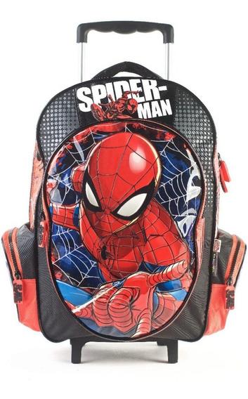 Mochila Escolar Spiderman 17 Pulgadas Con Carro Original!!!