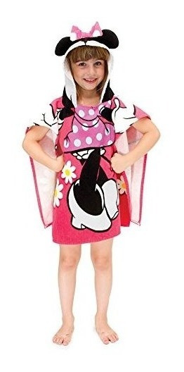 Disney Minnie Mouse 22 X 22 Hooded Poncho Bath/beach Towel