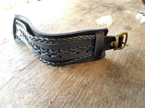 Pulseira Bracelete Masculina Couro Pingente Trançado Preto