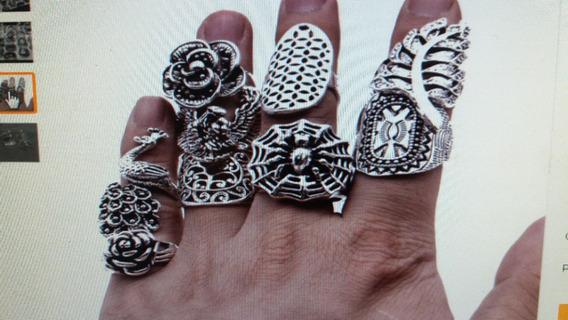 Kit Com 4 Anéis Gothic Tribal Unisex-esculpido-prata Barroco