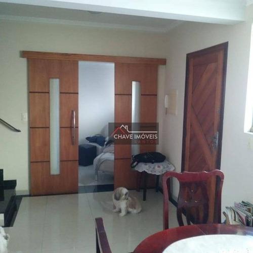 Sobrado Com 3 Dormitórios À Venda, 99 M² Por R$ 550.000,00 - Macuco - Santos/sp - So0101