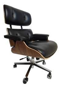 Poltrona Charles Eames Office Couro Natural 12 X Sem Juros