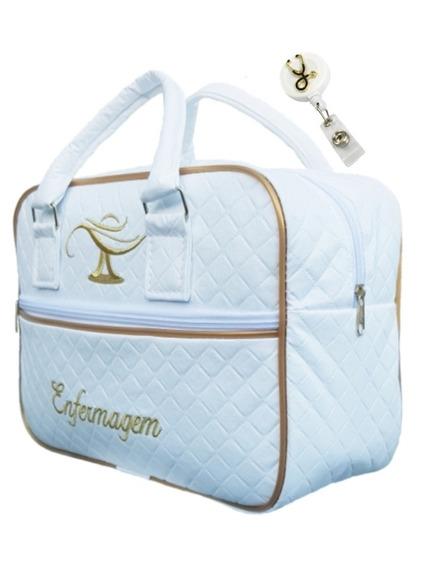 Bolsa Enfermagem Luxo Branca 1 Lindo Porta Crachá - Cod 84